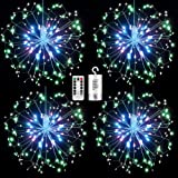 4 Pack Firework Lights led Copper Wire Starburst String Lights 8 Modes Battery Operated Fairy Lights with Remote,Christmas Decorative Hanging Lights for Party Patio Bedroom Christmas Decoration