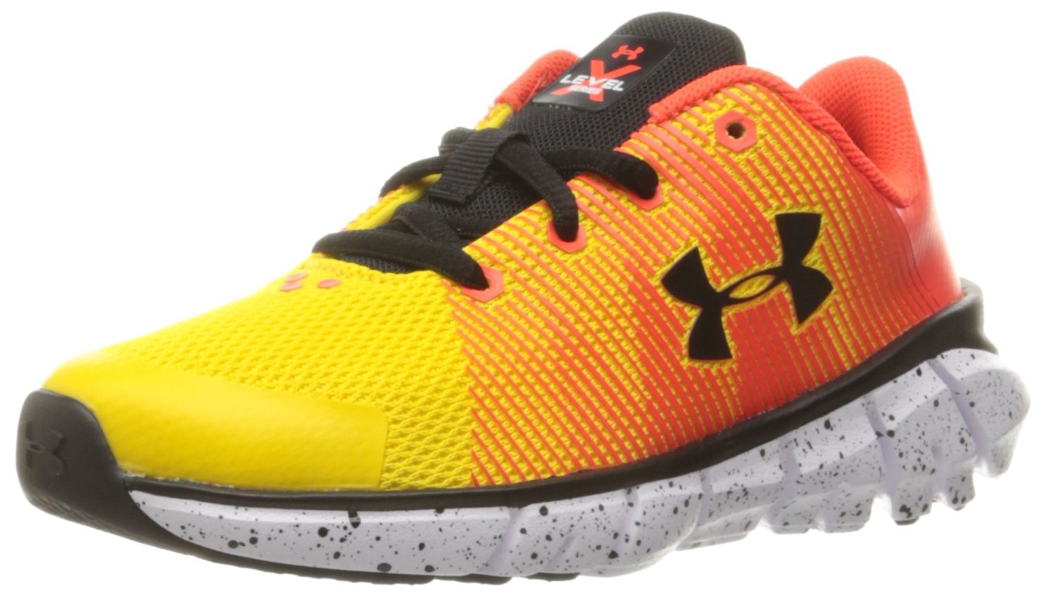 Under Armour Men's Pre School X Level Scramjet Sneaker, Taxi (790)/Phoenix Fire, 2.5