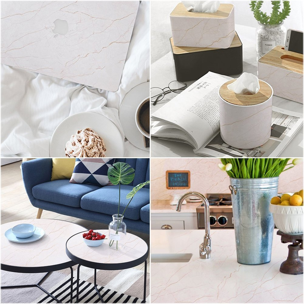 Still new Home 15.8'' X 78''Marble Contact Paper Self-Adhesive Decorative Contact Paper Covering Kitchen Counter top Cabinets Shelves Furniture LOW COST Renovation Removable waterproof Stain-Resistant