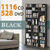 1116 CD/528 DVD Storage Shelf Rack Unit Adjustable Book Bluray Video Games(Black)