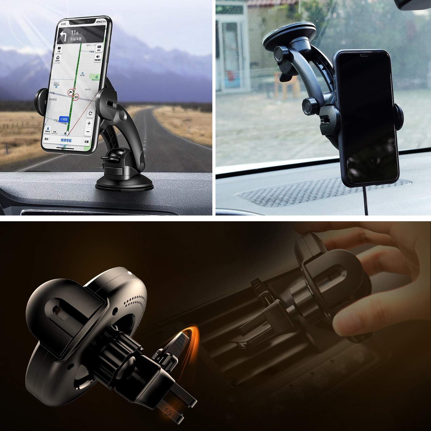 KOAKUMA Wireless Car Charger Mount, Automatic Clamping Car Mount Air Vent Phone Holder with 15W QI Fast Charging Compatible with iPhone X/XS Max/XS/XR/8/8 Plus, Samsung Galaxy S10/S10+/S9/S9+/Note 9/8 by KOAKUMA (Image #5)