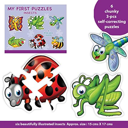 Toykraft: My First Puzzle - 6 Chunky Self-Correcting Matching Puzzles for Toddlers & Preschoolers - Insects