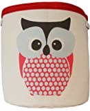 Storage baskets for kids toys – Lined fabric baskets for storing toys – Red owl design on fabric – Large storage basket for kids toys - Suitable for a nursery, or any room in the house