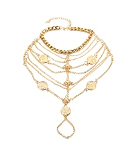 AMDXD Girls Gold Plated Ankle Chains Bohemian Multilayer Chain Tassel Coins Gold Foot Chain