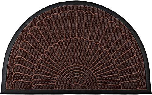Mibao Half Round Door Mat, Durable Front Outdoor Rug, Heavy Duty Rubber Mats, Non-Slip Low Profile Semicircle Doormats for Entry, Garage, Patio, High Traffic Areas, 24 x 36 , Coffee