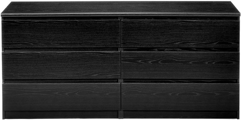 Tvilum 6 Drawer Double Dresser Black Wood Grain Kitchen Dining