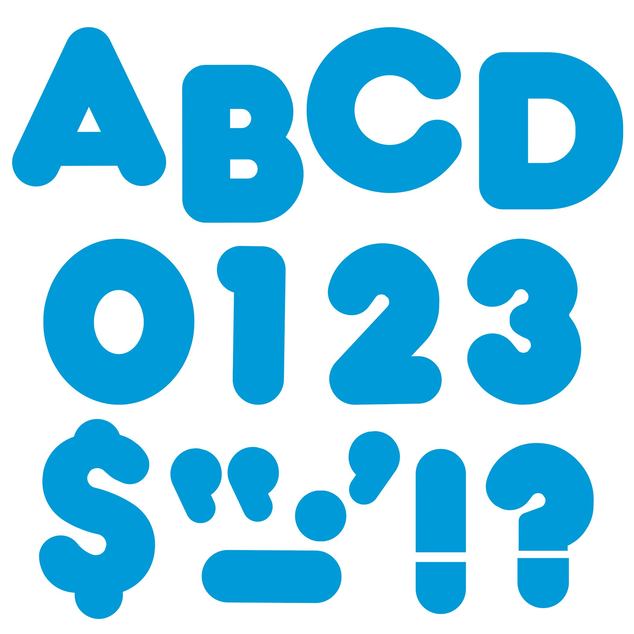 TREND enterprises, Inc. T-459BN Blue 4'' Casual Uppercase Ready Letters, 6 Packs by TREND Enterprises