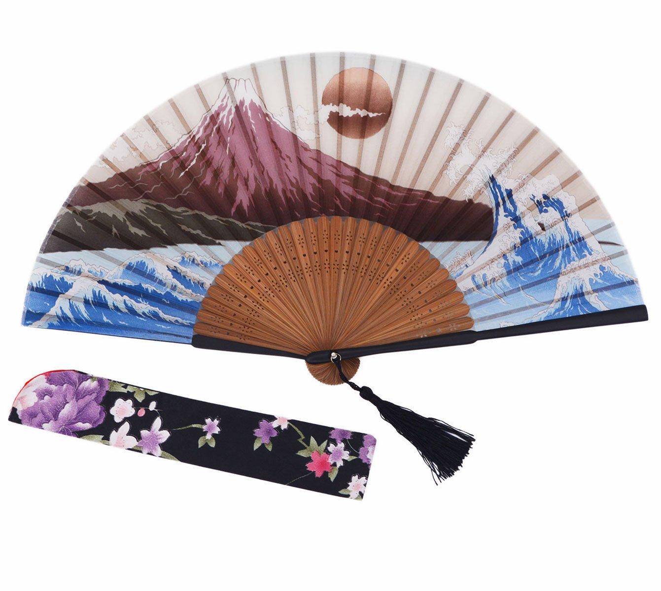 Amajiji Chinese Japanese Folding Hand Fan for women,Vintage Retro Style 9.05