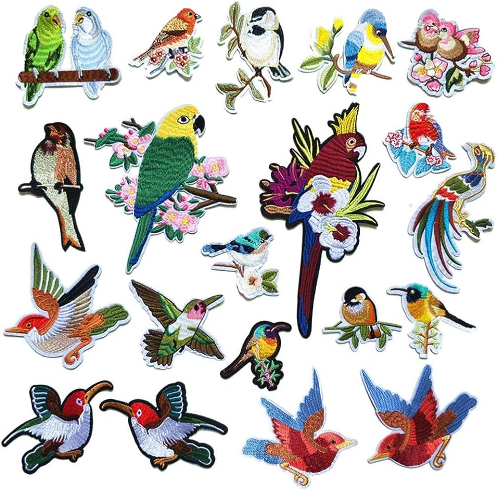 Healifty 20 Piezas pájaros Hierro en Parche Ropa Bordada Parche pájaros para Ropa Jeans artesanía DIY (Estilo Aleatorio)