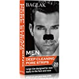 BAGLAK Men Blackhead Pore Strips, (28 Strips), Bamboo Charcoal, Deep Cleansing for All Skin types, Large Size For Nose+Face