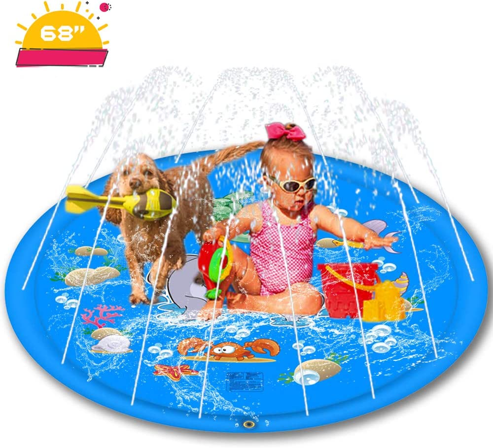Inflatable Splash Pad Sprinkler for Kids, 68'' Kids Sprinkler Pad for 1-12 Year Old Children Toddlers Boys Girls, Kiddie Pool, Outdoor Games Inflatable Shark Water Mat Toys, Upgraded Splash Play Mat