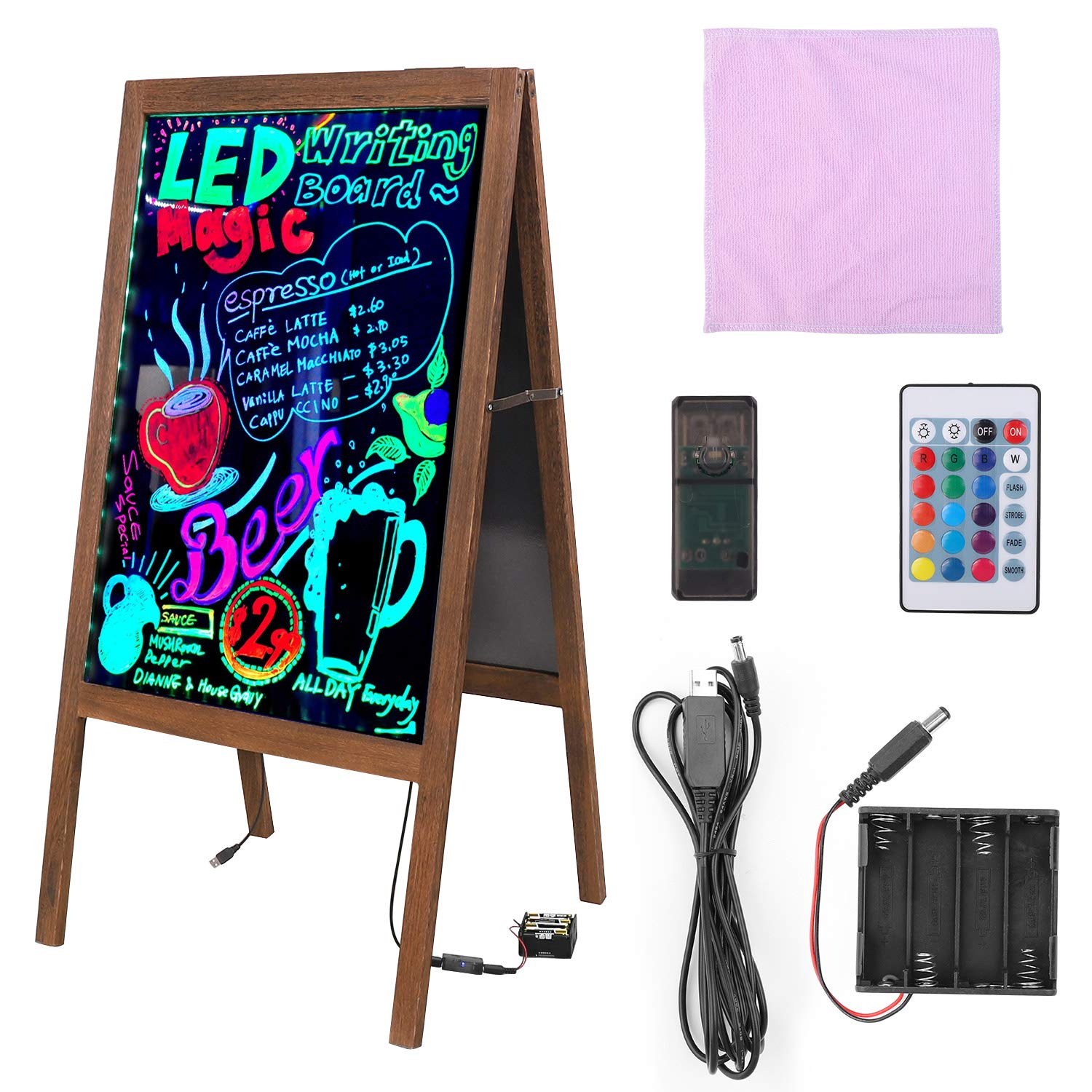LUVODI LED Message Writing Board, 39.4'' x 20.5'' Double Sided Illuminated Erasable Neon Effect Glass Surface Restaurant Menu Sign with Stand Kid DIY Painting Chalkboard 4 Flashing Mode for Bar, Kitchen by LUVODI