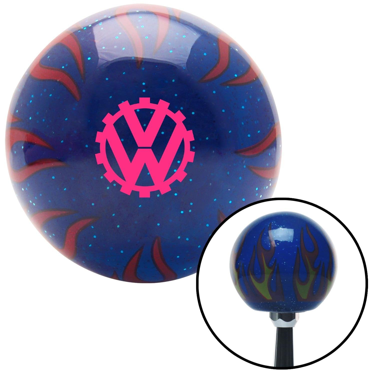 American Shifter 244292 Blue Flame Metal Flake Shift Knob with M16 x 1.5 Insert Pink Horn Trumpet
