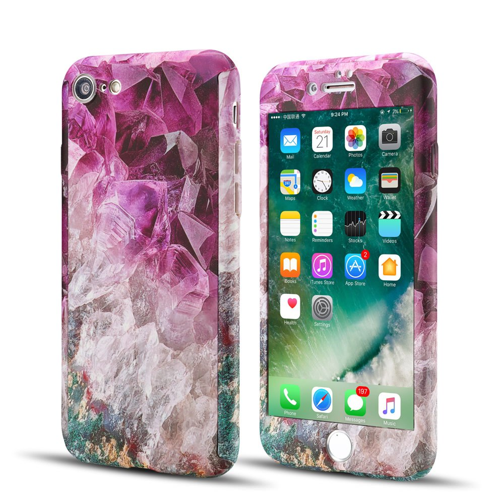 iPhone 8 Plus用EYZUTAKフルボディケース、強化ガラススクリーンプロテクター付きスリムパープルマーブルパターンのデザインiPhone 8 Plus 5.5インチ用パーフェクトハードリジッドPCカバー - パープル   B07F3N63HV