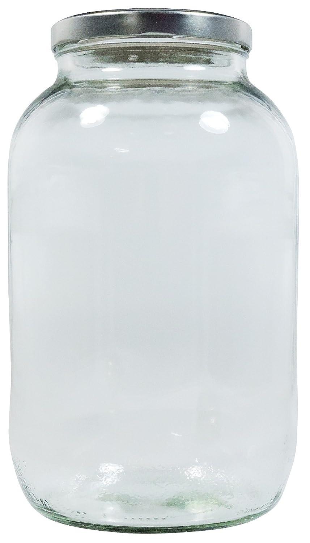 Viva Haushaltswaren XL Einmachglas 3400ml mit Silber-farbenem Schraubverschluss, Vorratsglas Glasdose inkl. Beschriftungsetikett .Viva-Haushaltswaren