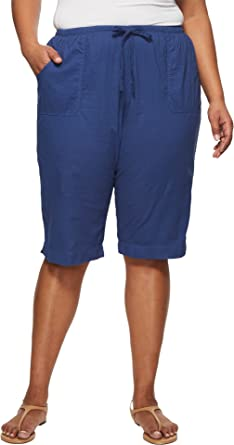 aa34c07088c Extra Fresh by Fresh Produce Women s Plus Size Park Ave Pedal Pusher  Moonlight Blue 1 X