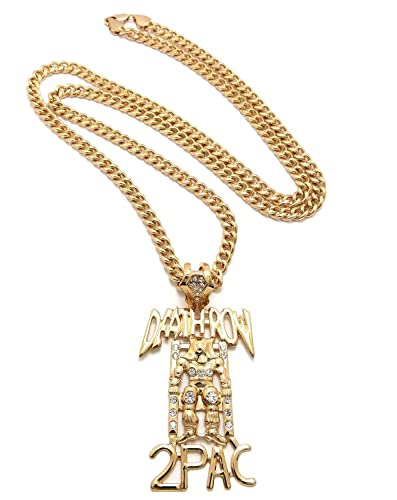New gold rhinestone death row 2pac pendant necklace w 6mm 36 new gold rhinestone death row 2pac pendant necklace w 6mm 36quot cuban aloadofball Choice Image