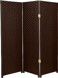 Oriental Furniture 4 Ft Tall Woven Fiber Room Divider Dark Mocha 3 Panel Furniture Decor Amazon Com