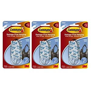 Command Hook - Large - Clear - (3 Pack)