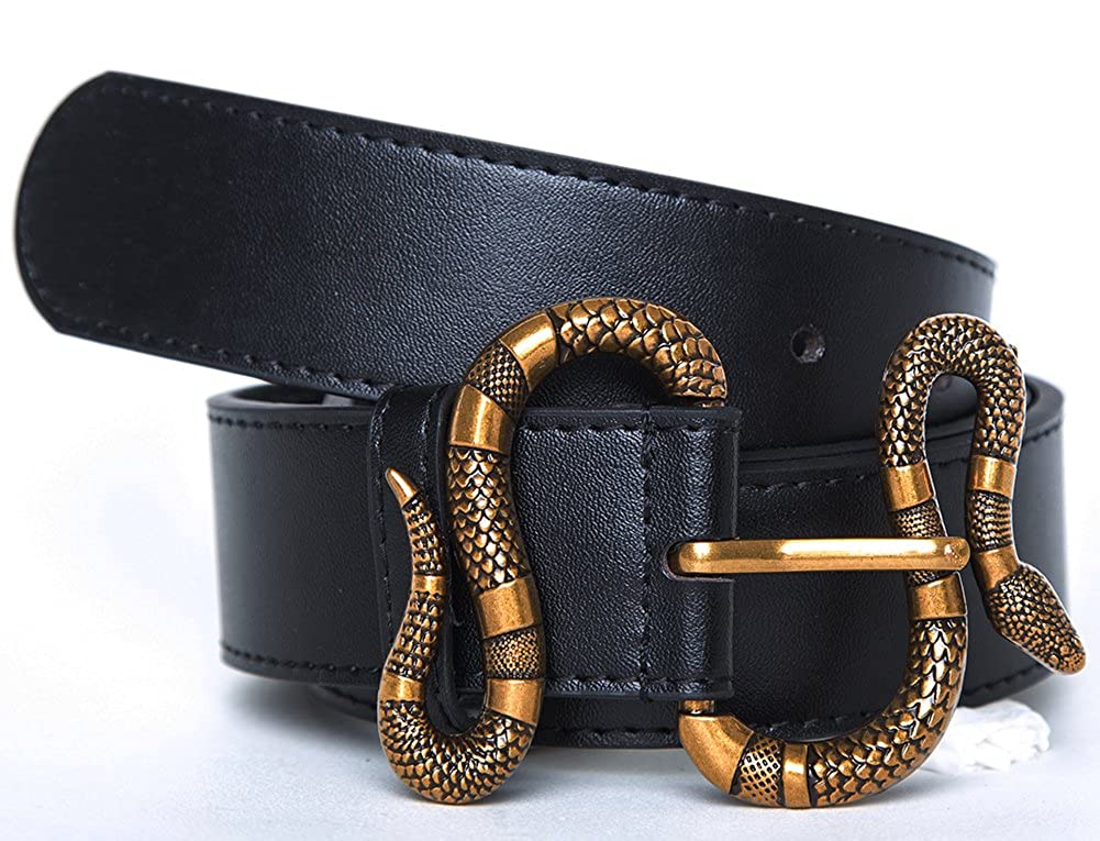 8a8a20b17 OhYak Mens Big Snake Buckle Design 38-mm Italian Leather Belt at Amazon  Men's Clothing store: