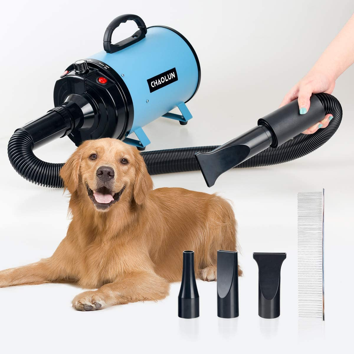 CHAOLUN High Velocity Pet Hair Dryer - Blower Grooming Dryer with Heater Dogs & Cats, 3.2HP 2400W Powerful Blow Force, Stepless Adjustable Speed, Reduce Noise, Heat Insulation