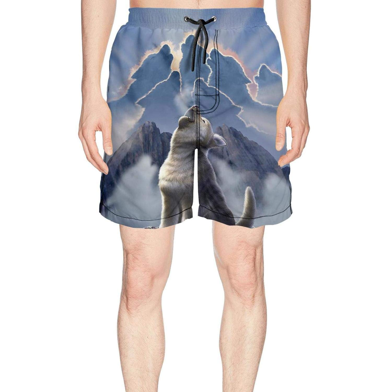 Funny Cute Howling Galaxy Wolf Baby Quick Dry Mens Summer Short