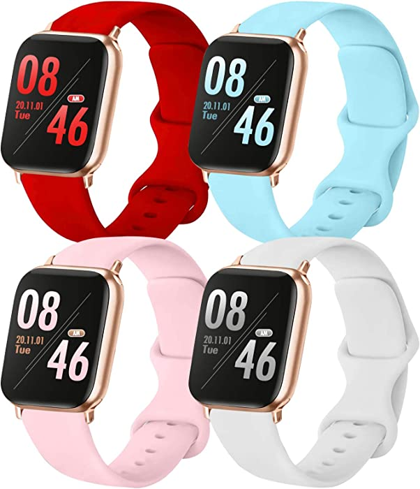 Brigtlaiff Pack 4 Compatible with 38mm 40mm Apple Watch Bands, Soft Silicone Replacement Watch Band for iWatch Series SE/6/5/4/3/2/1 (Red/Light Blue/White/PinkSand, 38mm/40mm-S/M, Small)