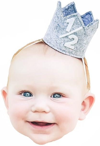 Birdy Boutique Classy Baby Boy Half 1 2 Year Birthday Grey White Party Mini Crown