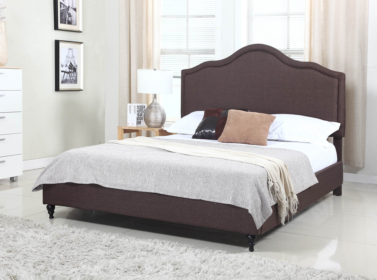 """Home Life Cloth Brown Linen 51"""" Tall Headboard Platform Bed with Slats King - Complete Bed 5 Year Warranty Included 009"""