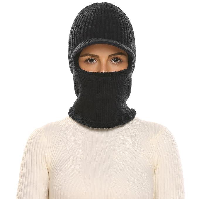 Zeagoo Unisex Neck Warmer Ski Face Mask Winter Hat Visor Balaclava Beanie  Black e5feba34f4a