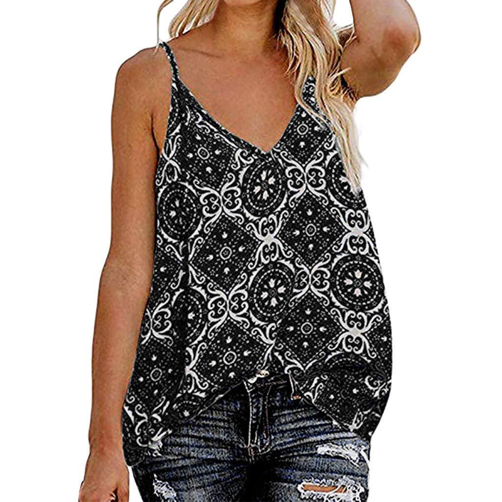 Mysky Women Summer Fashion Bohemian Print Casual Loose Camisole Vest Tee Shirt Tops