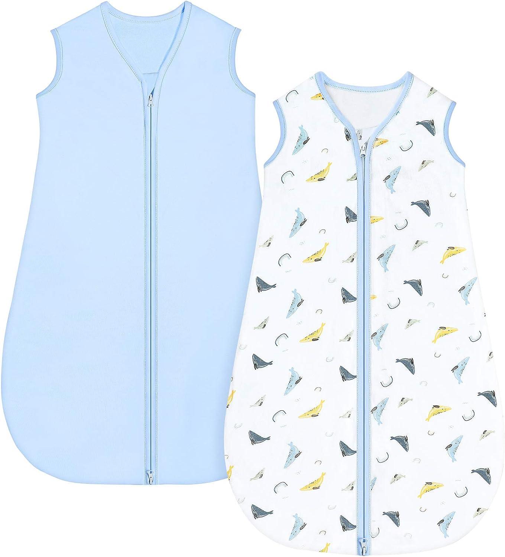 Yoofoss Paquete de 2 Saco de Dormir para Unisex Bebe Recién Nacidos Niño Niña 0-36 Meses Verano Ajustable Niño Niña 100% Algodón (6-18 Meses)