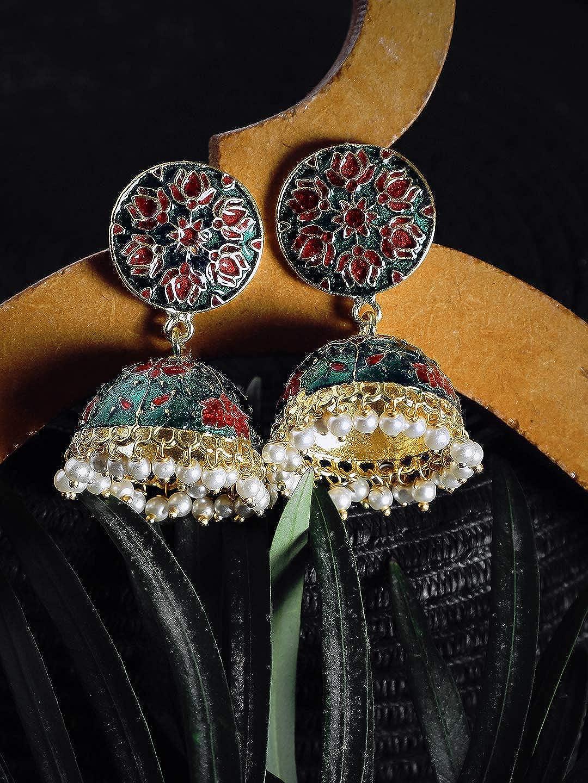 ZeroKaata/Fashion Jewellery Pink and Green Lotus Meenakari Jhumki Earrings For Women /& Girls