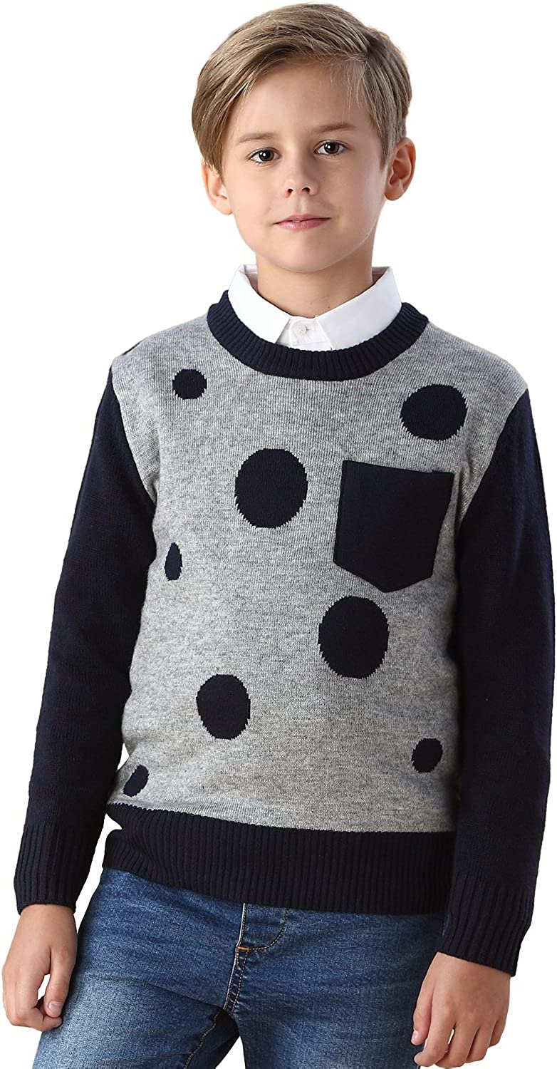 Leo&Lily Boys' Wool Blends Casual Dobby Sweater Pullover Navy