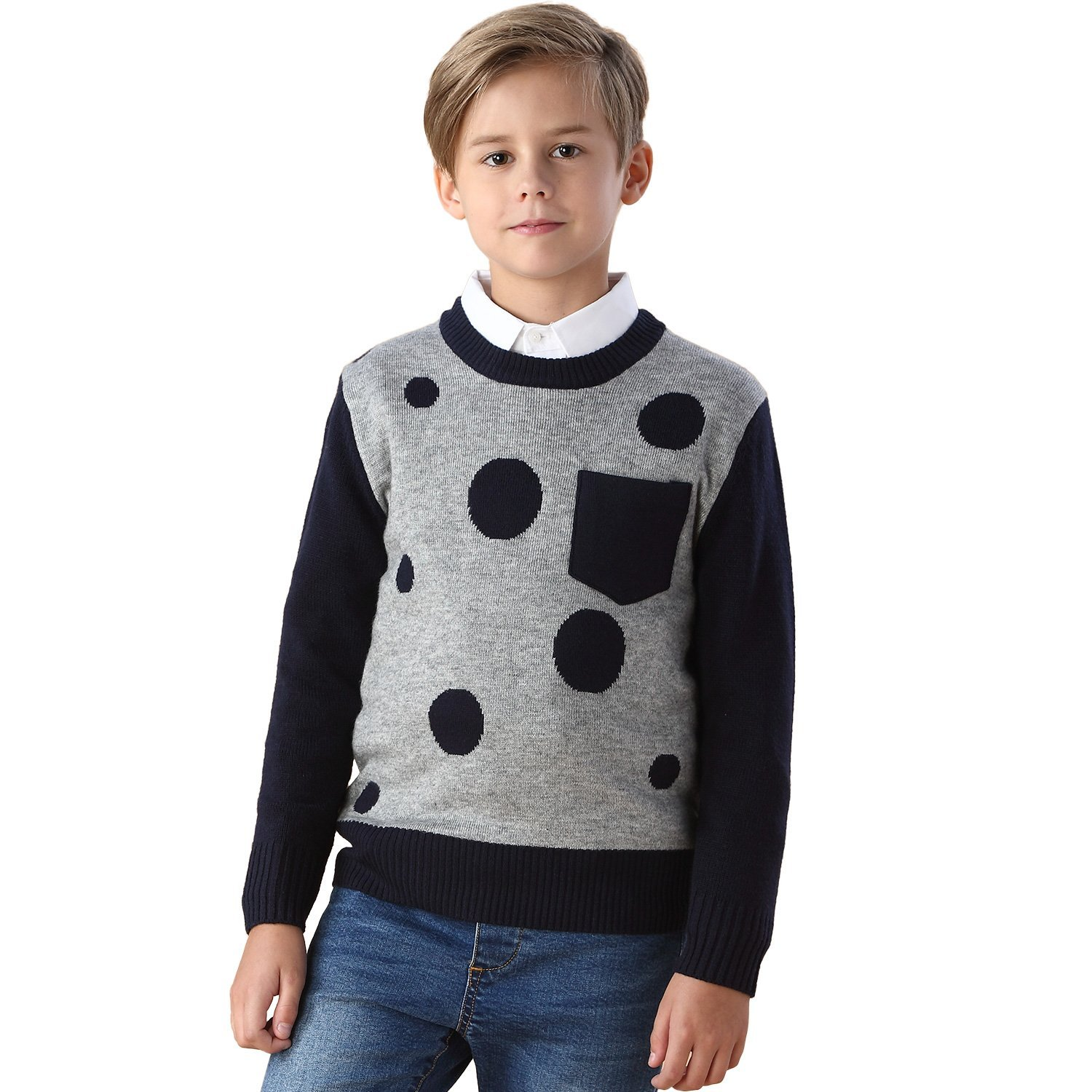 Leo& Lily Boys' Wool Blends Casual Dobby Sweater Pullover Navy LLB1258-NAVYDOT-10-$P