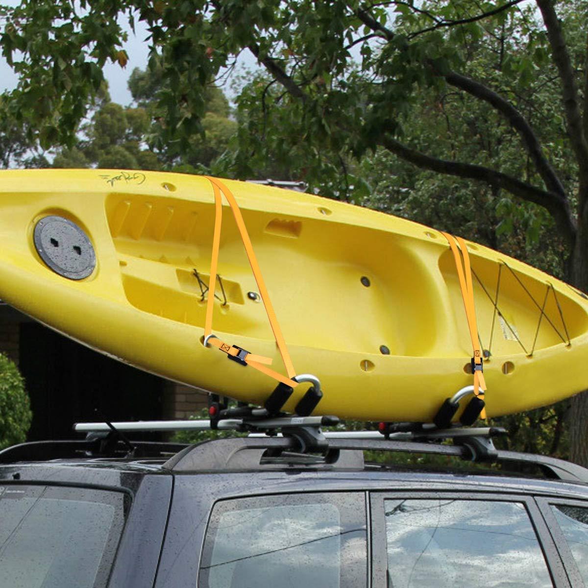 Jakago Lot de 4 sangles darrimage 2,5 x 4,3 m avec boucle de verrouillage /à came jusqu/à 272 kg pour chargement /équipement de pelouse kayak cano/ës