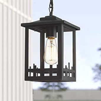 Indoor Outdoor Pendant Light Fixtures, 1-Light Exterior Hanging Lantern Lighting for Porch, KAUEN Farmhouse Height Adjustable Light with Sanded Black Finish Clear Glass