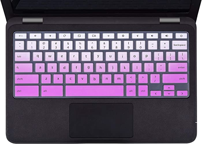 """Dell Chromebook 13 3380 Keyboard Cover Skins Compatible with 11.6"""" Dell Chromebook 11 3120 3180 3181 3189 5190 & Dell 11.6"""" Chromebook C3181,Dell 11.6 13.3 Chromebook Laptop Cover(Ombre Purple)"""