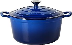 Epicurious Cookware Collection- Enameled Cast Iron Covered Dutch Oven, 6 Quart Dutch Oven Blue