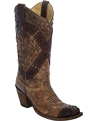 Women's Cognac Braided Straps and Studs Cowgirl Boot Snip Toe - A2990