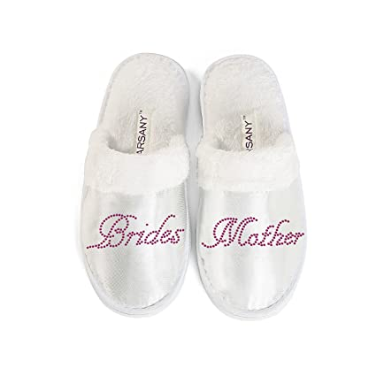 351a48ccb4988 Hot Pink Brides Mother Spa Slippers Hen party Wedding Diamante rhinestone  crystal hotel slippers By Varsany  Amazon.co.uk  Kitchen   Home