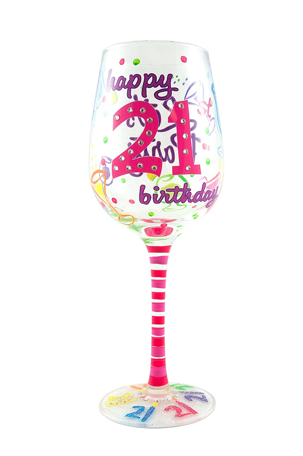 Top Shelf 21st Birthday Wine Glass Hand Painted Unique Gift Idea Amazon In Shoes Handbags