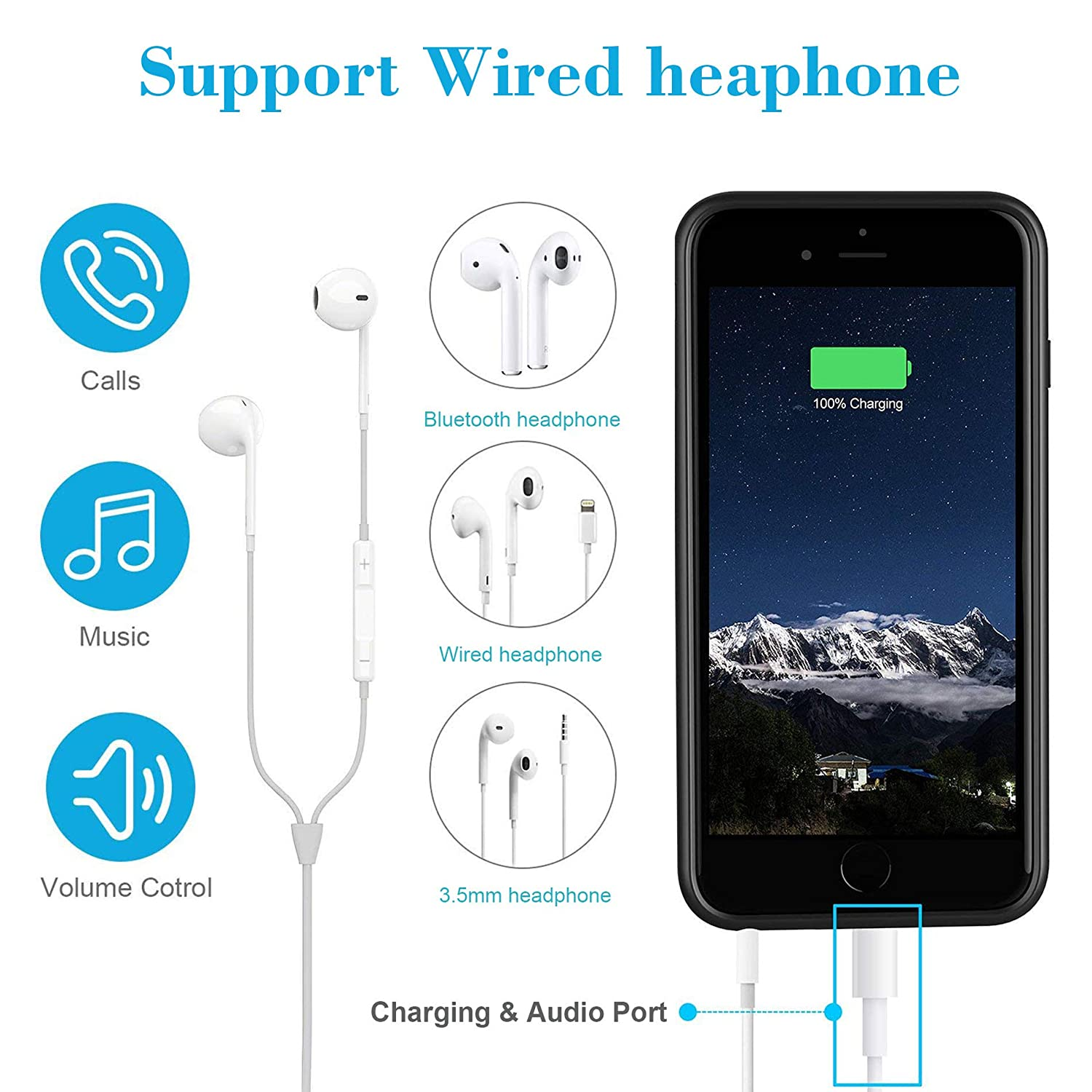 Support Wired Earphones Rechargeable Protective Extended Battery Pack Charging Case Slim Portable Charger Case iPhone 6// 6S// 7//8 The Regular One Only, Not The Plus+