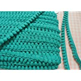 Teal Mini Pom Pom Fringe Embroidered Lace Trim Braid Woven Pompom Ball Sewing Supplies