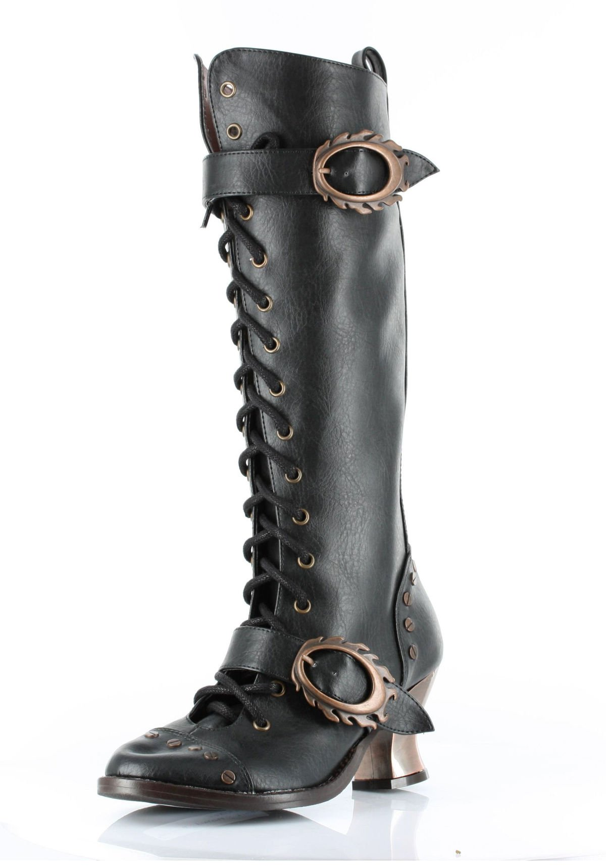 HADES Steampunk High Heel Womens Knee High Boot Studs Retro VINTAGE Black-11