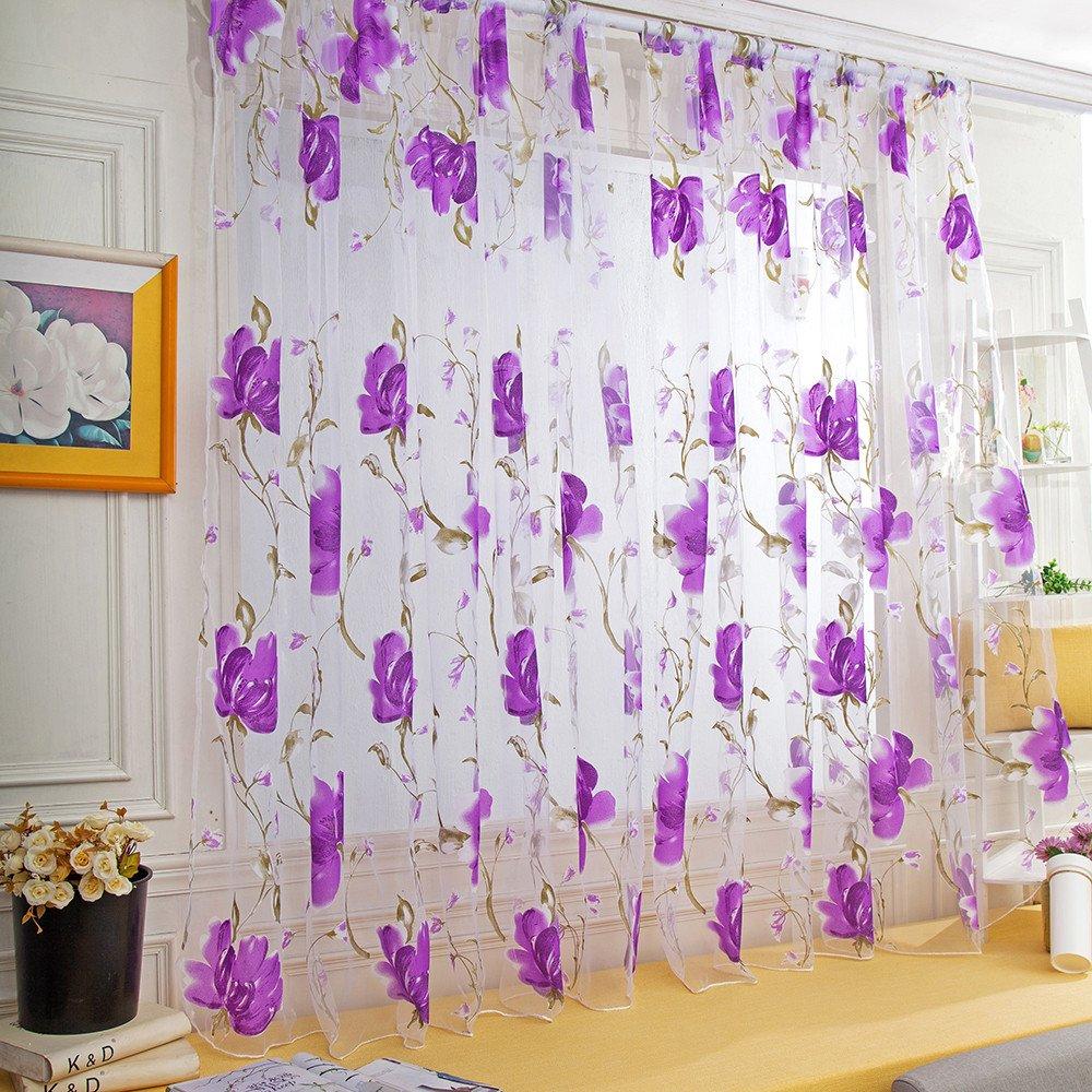 WensLTD Clearance! 1PC Vines Leaves Tulle Door Window Curtain Drape Panel Sheer Scarf Valances (Purple)