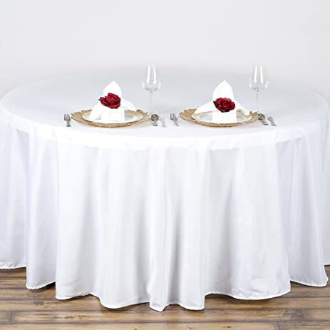 BalsaCircle 90 Inch White Round Polyester Tablecloth Table Cover Linens For  Wedding Party Events Kitchen