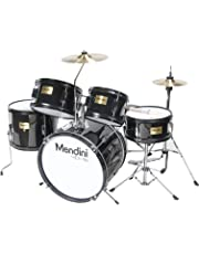 Mendini by Cecilio 16 inch 5-Piece Complete Kids/Junior Drum Set with Adjustable Throne, Cymbal, Pedal & Drumsticks, Metallic Black, MJDS-5-BK