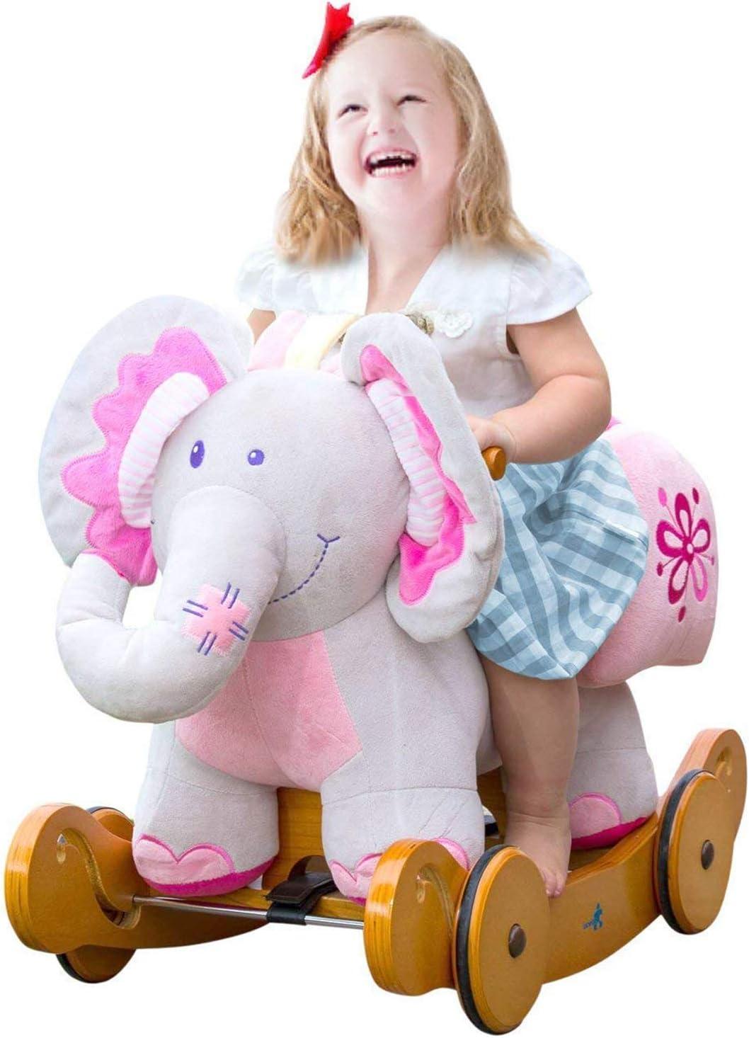 labebe Caballito Balancin Bebé De Elefante Rosado, Caballito Madera con Ruedas De 2 In 1 para Niño De 1-3 Años, Caballito Balancin Bebé Niña/Silla Balancin Bebé/Caballito Balancin Rosa/Caballito Niño