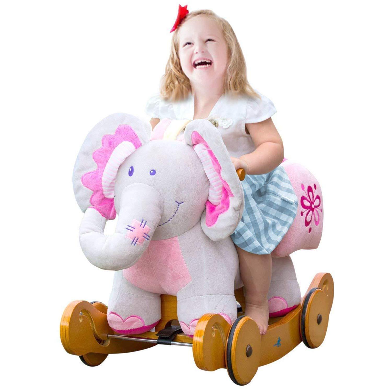 Labebe Baby Schaukelpferd Holz mit Räder, 2-in-1 Schaukelpferd Elefant& Schaukelpferd Rosa für Baby 1-3 Jahre Alt, Kleinkind Schaukel Baby/Schaukelpferd Pink/Spielzeug Schaukel/Schaukeltier Musik